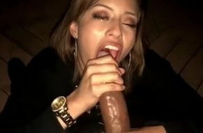 Latina sucks black cock